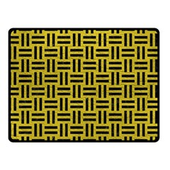 Woven1 Black Marble & Yellow Leather Double Sided Fleece Blanket (small)