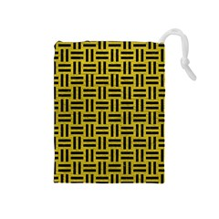 Woven1 Black Marble & Yellow Leather Drawstring Pouches (medium)