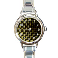 Woven1 Black Marble & Yellow Leather (r) Round Italian Charm Watch