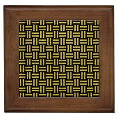 Woven1 Black Marble & Yellow Leather (r) Framed Tiles