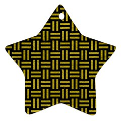 Woven1 Black Marble & Yellow Leather (r) Ornament (star)