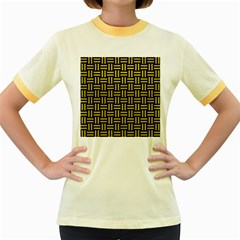 Woven1 Black Marble & Yellow Leather (r) Women s Fitted Ringer T Shirts