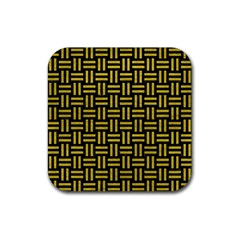 Woven1 Black Marble & Yellow Leather (r) Rubber Square Coaster (4 Pack)