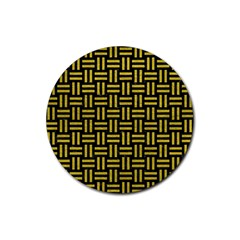 Woven1 Black Marble & Yellow Leather (r) Rubber Round Coaster (4 Pack)