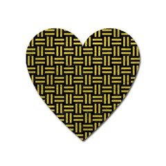 Woven1 Black Marble & Yellow Leather (r) Heart Magnet