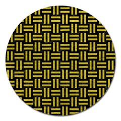 Woven1 Black Marble & Yellow Leather (r) Magnet 5  (round)