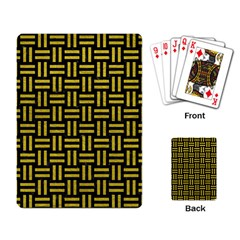 Woven1 Black Marble & Yellow Leather (r) Playing Card