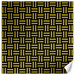 Woven1 Black Marble & Yellow Leather (r) Canvas 12  X 12