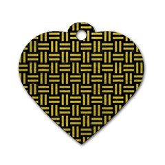 Woven1 Black Marble & Yellow Leather (r) Dog Tag Heart (two Sides)