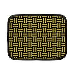 Woven1 Black Marble & Yellow Leather (r) Netbook Case (small)