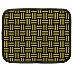 Woven1 Black Marble & Yellow Leather (r) Netbook Case (large)