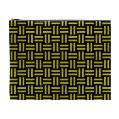 Woven1 Black Marble & Yellow Leather (r) Cosmetic Bag (xl)