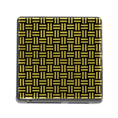 Woven1 Black Marble & Yellow Leather (r) Memory Card Reader (square)