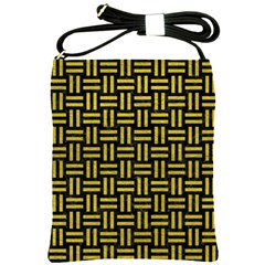 Woven1 Black Marble & Yellow Leather (r) Shoulder Sling Bags