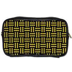 Woven1 Black Marble & Yellow Leather (r) Toiletries Bags 2 Side