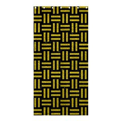 Woven1 Black Marble & Yellow Leather (r) Shower Curtain 36  X 72  (stall)