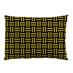 Woven1 Black Marble & Yellow Leather (r) Pillow Case (two Sides)