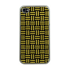 Woven1 Black Marble & Yellow Leather (r) Apple Iphone 4 Case (clear)