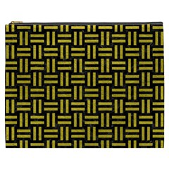 Woven1 Black Marble & Yellow Leather (r) Cosmetic Bag (xxxl)