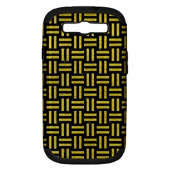 Woven1 Black Marble & Yellow Leather (r) Samsung Galaxy S Iii Hardshell Case (pc+silicone)