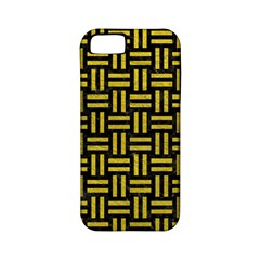 Woven1 Black Marble & Yellow Leather (r) Apple Iphone 5 Classic Hardshell Case (pc+silicone)