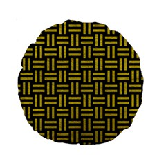 Woven1 Black Marble & Yellow Leather (r) Standard 15  Premium Round Cushions