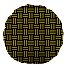 Woven1 Black Marble & Yellow Leather (r) Large 18  Premium Round Cushions