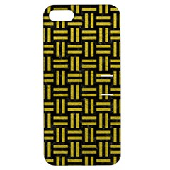 Woven1 Black Marble & Yellow Leather (r) Apple Iphone 5 Hardshell Case With Stand