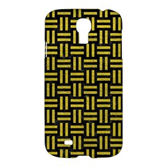 Woven1 Black Marble & Yellow Leather (r) Samsung Galaxy S4 I9500/i9505 Hardshell Case