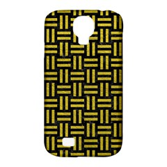 Woven1 Black Marble & Yellow Leather (r) Samsung Galaxy S4 Classic Hardshell Case (pc+silicone)