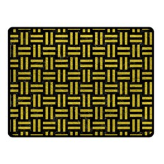 Woven1 Black Marble & Yellow Leather (r) Double Sided Fleece Blanket (small)