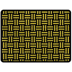 Woven1 Black Marble & Yellow Leather (r) Double Sided Fleece Blanket (large)