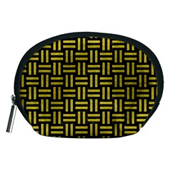 Woven1 Black Marble & Yellow Leather (r) Accessory Pouches (medium)