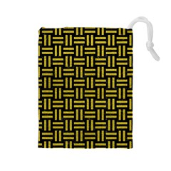 Woven1 Black Marble & Yellow Leather (r) Drawstring Pouches (large)