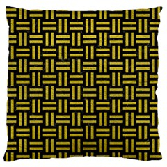 Woven1 Black Marble & Yellow Leather (r) Standard Flano Cushion Case (two Sides)