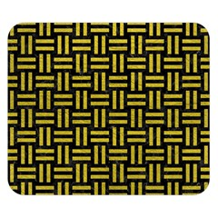 Woven1 Black Marble & Yellow Leather (r) Double Sided Flano Blanket (small)
