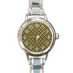Woven2 Black Marble & Yellow Leather Round Italian Charm Watch