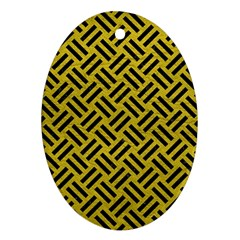 Woven2 Black Marble & Yellow Leather Ornament (oval)