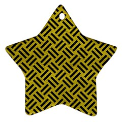 Woven2 Black Marble & Yellow Leather Ornament (star)