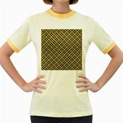 Woven2 Black Marble & Yellow Leather Women s Fitted Ringer T Shirts