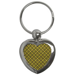 Woven2 Black Marble & Yellow Leather Key Chains (heart)