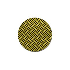 Woven2 Black Marble & Yellow Leather Golf Ball Marker (10 Pack)