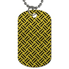Woven2 Black Marble & Yellow Leather Dog Tag (two Sides)
