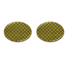 Woven2 Black Marble & Yellow Leather Cufflinks (oval)