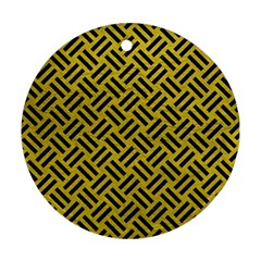 Woven2 Black Marble & Yellow Leather Round Ornament (two Sides)
