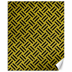 Woven2 Black Marble & Yellow Leather Canvas 11  X 14