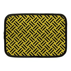 Woven2 Black Marble & Yellow Leather Netbook Case (medium)