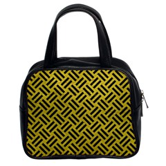 Woven2 Black Marble & Yellow Leather Classic Handbags (2 Sides)