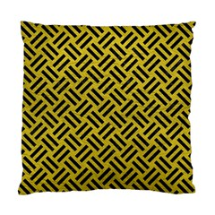 Woven2 Black Marble & Yellow Leather Standard Cushion Case (one Side)