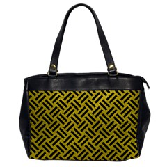 Woven2 Black Marble & Yellow Leather Office Handbags